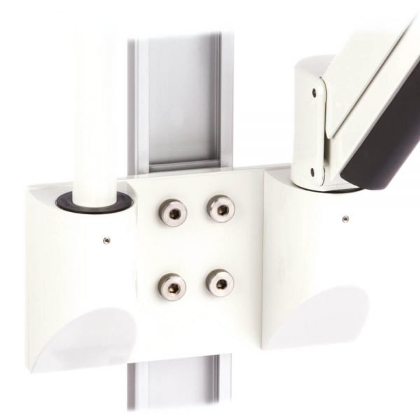 mtmar-118d1-dual-medical-arm-pole-mount-recessed-track-wall-insertion-white
